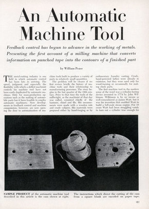 An Automatic Machine Tool - Scientific American (Sep, 1952) | Research_topic | Scoop.it