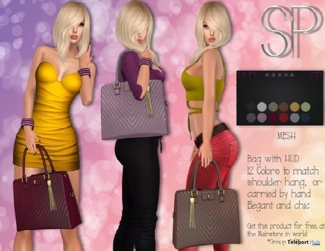 Paris Chic Bag 12 Colors Group Gift by PIAGGIO CREATIONS | Teleport Hub - Second Life Freebies | Second Life Freebies | Scoop.it