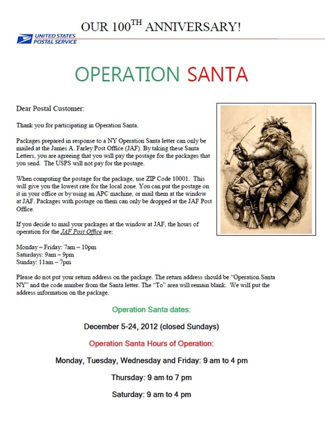 2012 Operation Santa Hours - James A. Farley Building, NY | Operation Santa Claus - Santa's Blog | Christmas and Winter Holidays | Scoop.it