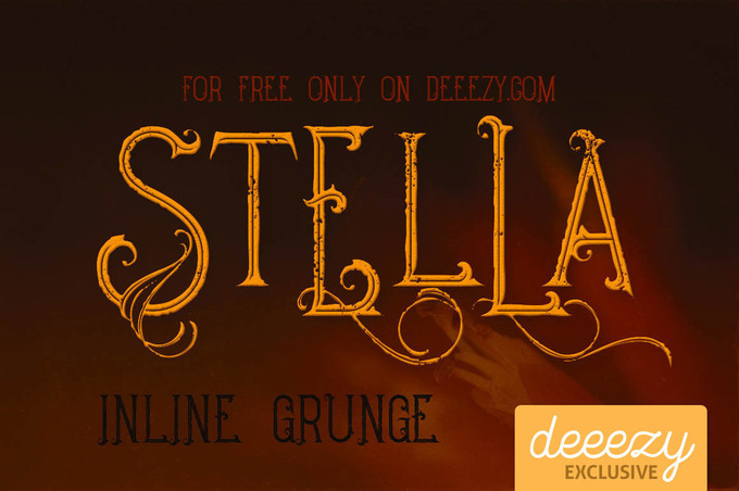 Stella Inline Grunge Font – Deeezy – Freebies with Extended License