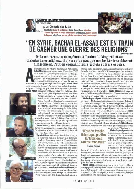 """Marek Halter dans VSD: """"Bachar El-Assad est en train de gagner une guerre des religions.""""   Marek Halter   Scoop.it"""