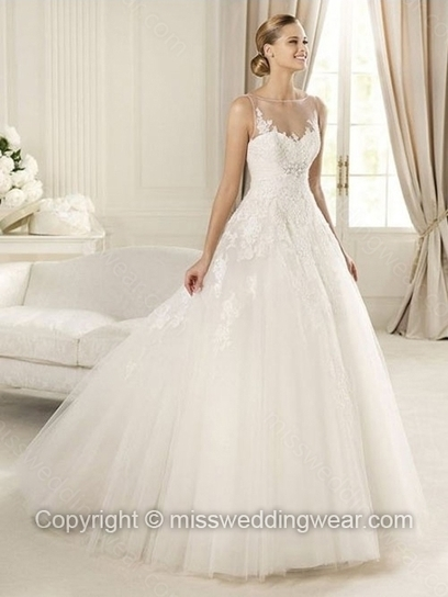 Ball Gown Bateau Tulle Sweep Train Appliques Wedding Dresses   2014 wedding dress online   Scoop.it