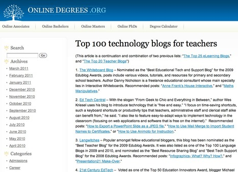 Top 100 technology blogs for teachers | omnia mea mecum fero | Scoop.it