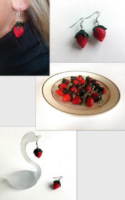 Jewelry, Lampwork  Earrings, Unique Earrings, Handmade Earrings, Spring Trends, Strawberry Earrings, Prom Jewelry, Retro, Unique Gift | My Jewelrys | Scoop.it