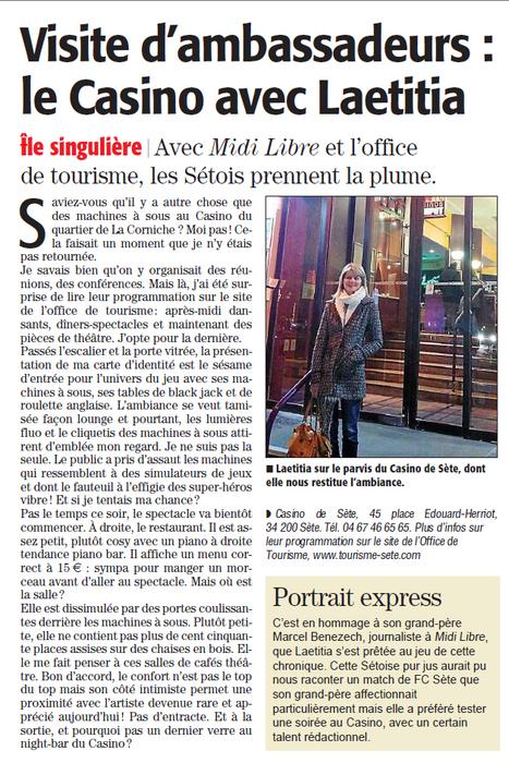 Soirée Théâtre au Casino de Sète avec Lætitia, notre ambassadrice. | Sète Tourisme : les ambassadeurs-reporters sur le terrain | Scoop.it