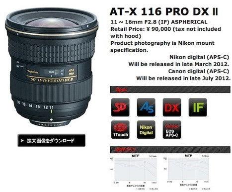 New Tokina AT-X 11-16 f/2.8 PRO DX Ⅱ lens announced | Photography Gear News | Scoop.it
