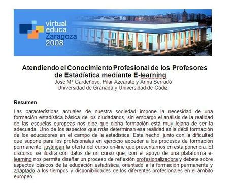 Atendiendo el Conocimiento Profesional de los Profesores de Estadística mediante E-learning | Communities of Practice (CoP) | Scoop.it