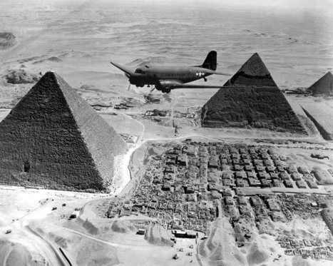 air Transport Command plane flies over the pyramids in Egypt. | Archaeology News | Scoop.it