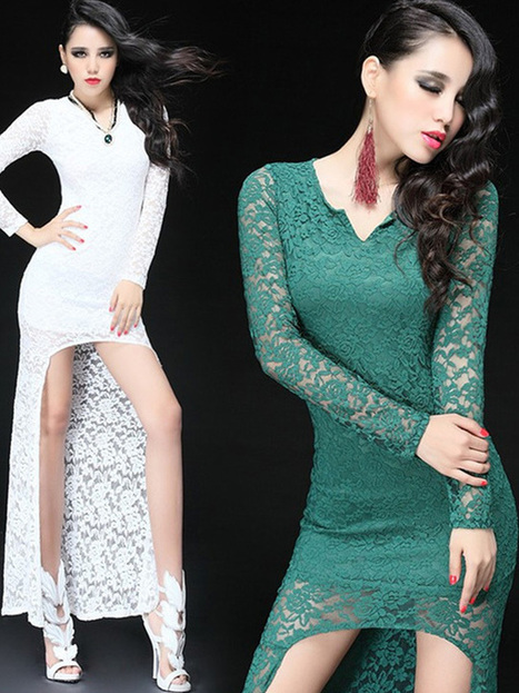 Lace Hollow-Out See-Through Long Sleeve High-Low Hem Slimming Sexy Dress : KissChic.com | Kisschic Fashion Dresses | Scoop.it
