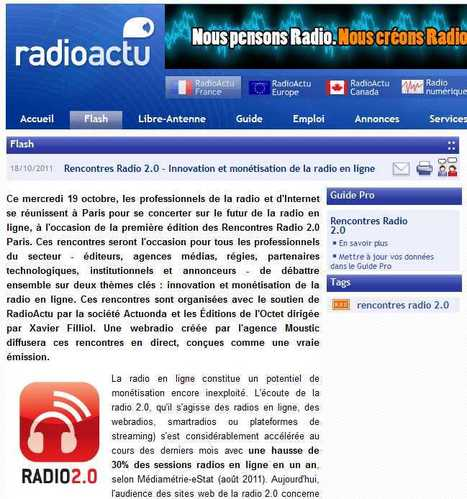 Rencontres Radio 2.0 - Innovation et monétisation de la radio en ligne - Actualité radio - RadioActu | Radio 2.0 (En & Fr) | Scoop.it
