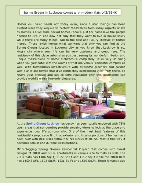 Spring Greens Lucknow | Spring Greens Residential Project | Residential Property in India | Scoop.it