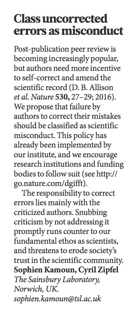 Nature: Scientific record: Class uncorrected errors as misconduct (2016) | Publications | Scoop.it