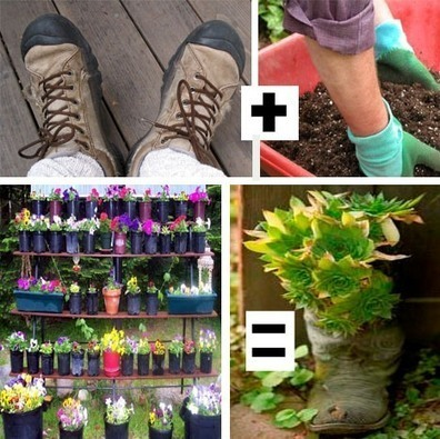 How to Turn Old Footwear into Gloriously Green Garden Planters - 1-800-Recycling | Back Yard Garden Projects | Scoop.it