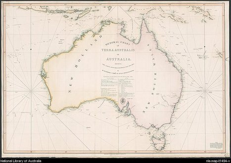 Digital Collections - Maps - Flinders, Matthew, 1774-1814. General chart of Terra Australis or Australia [cartographic material] : showing the parts explored between 1798 and 1803 by M. Flinders Co... | first contacts | Scoop.it