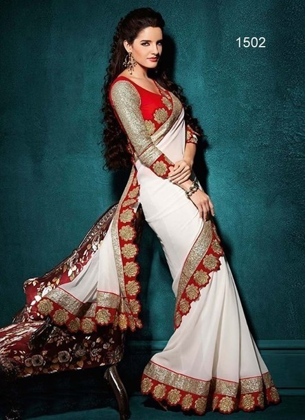 White Designer Ethnic Georgette Indian Fancy Lace Pedding Saree | Women's Fashion & Jewellery Shopping | Scoop.it
