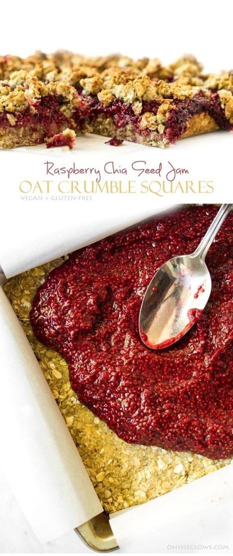 Raspberry Chia Seed Jam Oat Crumble Squares (Vegan + Gluten-Free) — Oh She Glows | My Vegan recipes | Scoop.it