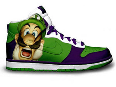 Green Purple Luigi Nikes Super Mario Bros Brother Shoes Luigi High Tops Sneakers / Luigi Nike Shoes | Hello Kitty Nike Dunks | Scoop.it