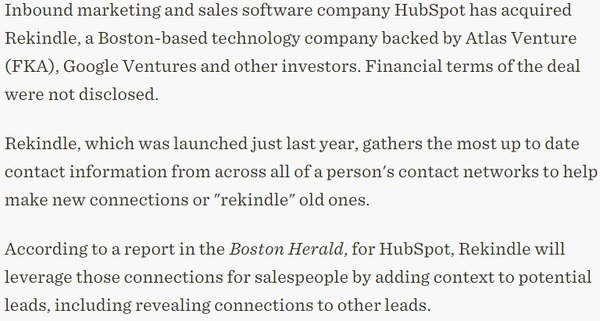 HubSpot aims to make better connections via acquisition of Rekindle - FierceCMO | The Marketing Technology Alert | Scoop.it