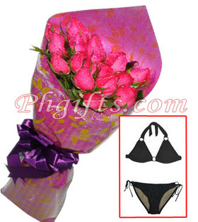 Roses bouquet with two-piece bikini with ring deliver on Graduation Day - Roses and Swimwear#007 | MOTHER'S DAY GIFT IDEAS | Scoop.it