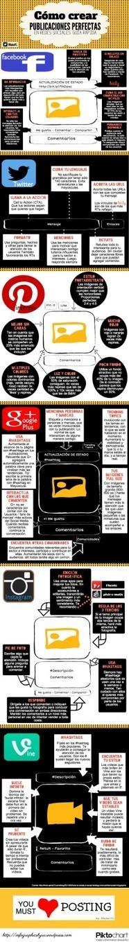 Guía rápida de publicaciones perfectas en redes Sociales #infografia | juancarloscampos.net | Scoop.it