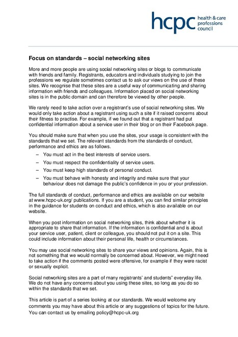 HCPC Social Media Guidance   Occupational Therapy and CPD   Scoop.it