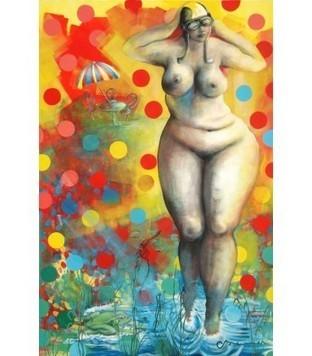 La femme nue dans le jardin à pois - Corinne Brenner - Galerie d'art contemporain le hangART | Tableaux de C. Brenner | Scoop.it