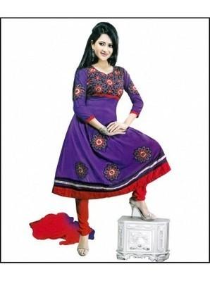 Dark Purple & Red color semi stitched Anarkali suit | stylo8.com | Scoop.it