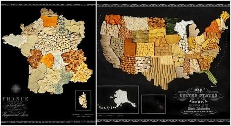 Carte des pays réalisée avec de la nourriture | StylingM@p | Scoop.it