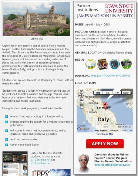 URBINO PROJECT 2013 - Get Academic Credits with a Journalism Course in Le Marche | Le Marche another Italy | Scoop.it