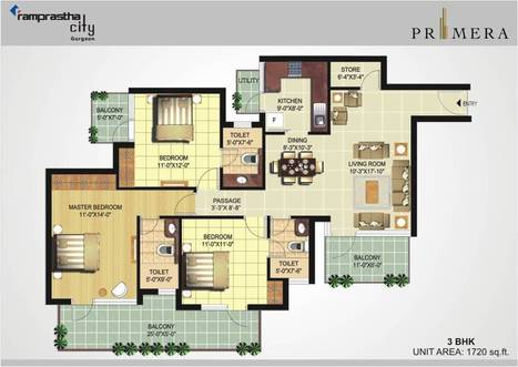 Ramprastha Primera 3 BHK + Store - 1720 sq.ft (Floor Plan) | Ramprastha Primera, Sector 37D, Gurgaon II Subvention Scheme | Scoop.it