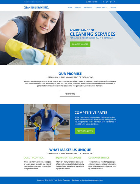 Cleaning services html website template design for sale | BuyLPDesign Blog | responsive landing pages | Scoop.it