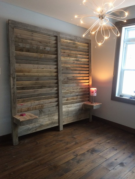 Pallet headboard and tables | bancoideas | Scoop.it