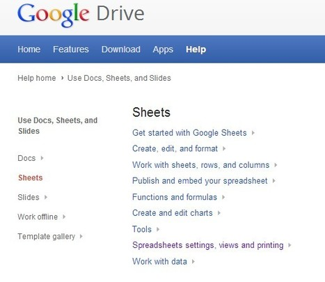 Sheets - Google Drive Help | Free Tutorials in EN, FR, DE | Scoop.it