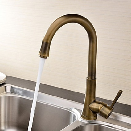 Antique Brass Finish Single Handle Kitchen Faucet - Faucetsmall.com | Bathroom Sink Faucets or Kitchen Faucets | Scoop.it