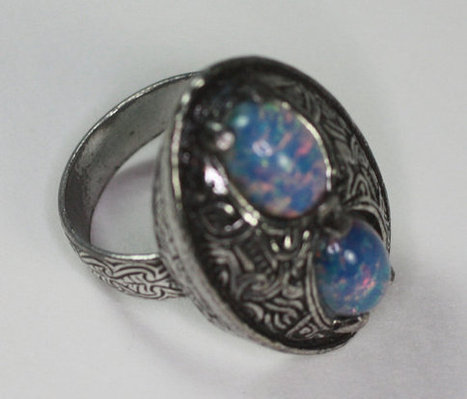 Vintage Faux Opal Ring Celtic Design Adjustable Signed Miracle   Vintage Jewelry   Scoop.it