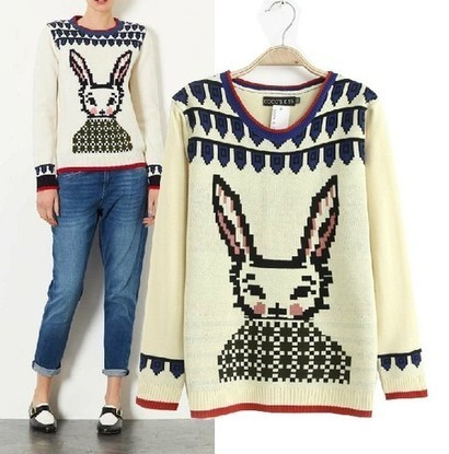 Beige Long Sleeve Rabbit Pattern Loose Sweater from yourfashionsandcute | bebpiloo | Scoop.it
