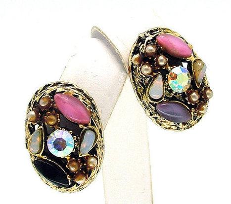 Vintage Earrings Aurora Borealis Rhinestone (AB) And Moonstone | Beautiful Bargain Vintage Costume Jewelry | Scoop.it