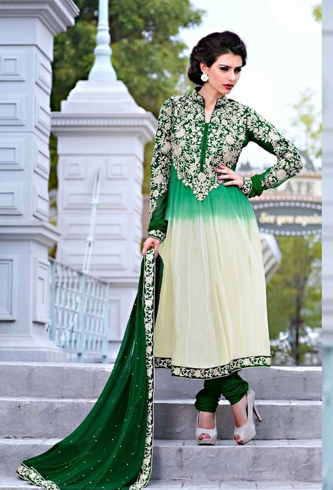 Green Off White Net Kalidar Suit | If loving Fashion is a Crime, We Plead Guilty | Scoop.it
