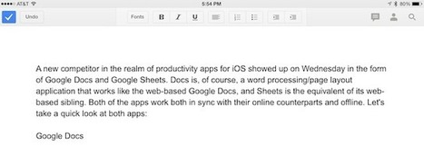 Google Docs and Sheets: A first look at the underpowered iOS apps - tuaw.com | Edtech PK-12 | Scoop.it