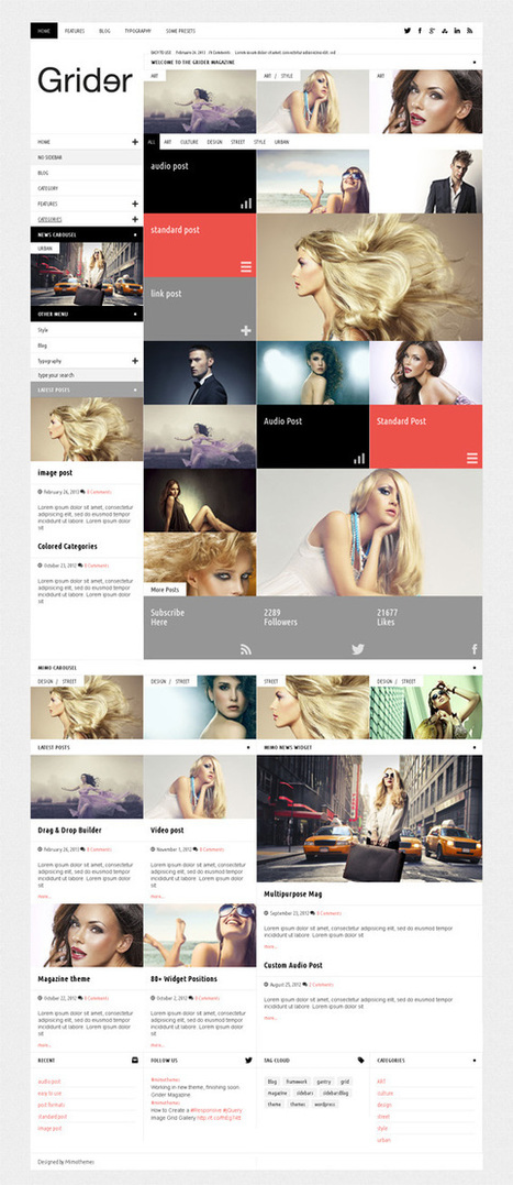 Grider, WordPress Responsive Photographer Magazine Theme | WP Download | Hello-Design | Scoop.it