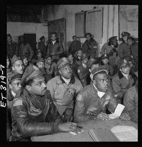 [Photograph of several Tuskegee airmen attending a briefing in Ramitelli, Italy, March 1945] | tuskegee airmen | Scoop.it
