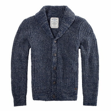 Classic wool blend knit shawl cardigan in blue/gray from Vintage rugged canvas bags | Best mens style outlet | Scoop.it