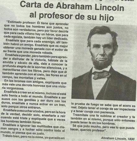 Carta de Abraham Lincoln al profesor de su hijo. | Coaching | Scoop.it
