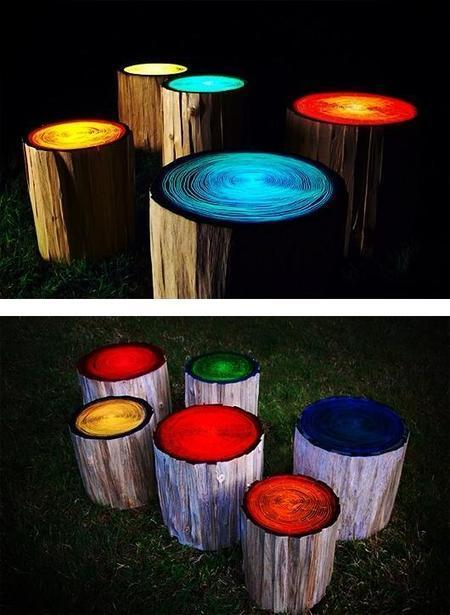 Glow-in-the-dark stools in the garden | Upcycled Garden Style | Scoop.it