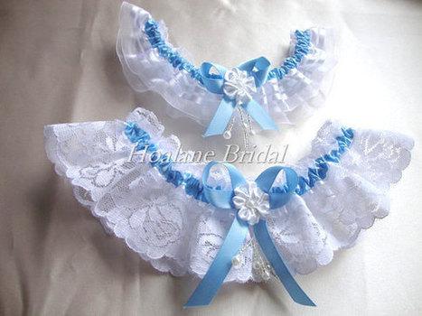 Baby Blue Lace Garter Set, Blue Ribbon/ lace/organza garter set, Bridal garter set of 2 garters | Wedding Garters | Scoop.it