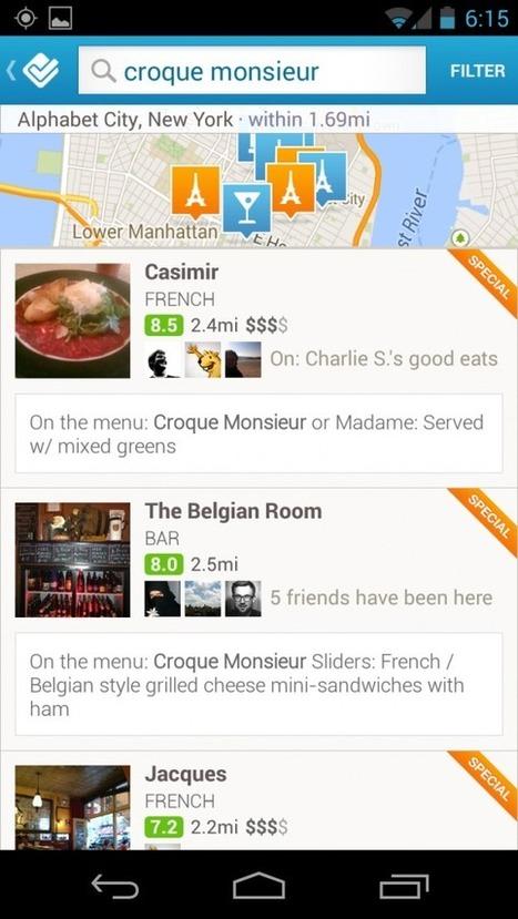 Foursquare affiche désormais les menus des restaurants | toute l'info sur Foursquare | Scoop.it