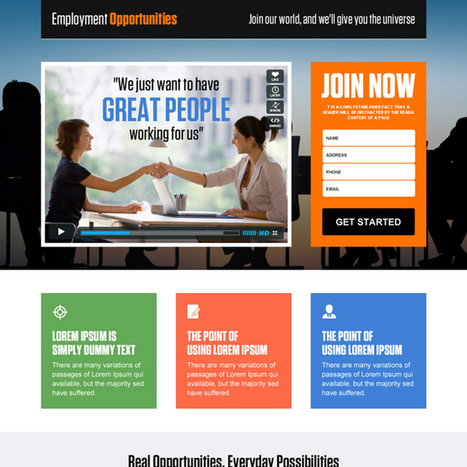 employment opportunities video lead capture landing page design template | best landing page design | Scoop.it