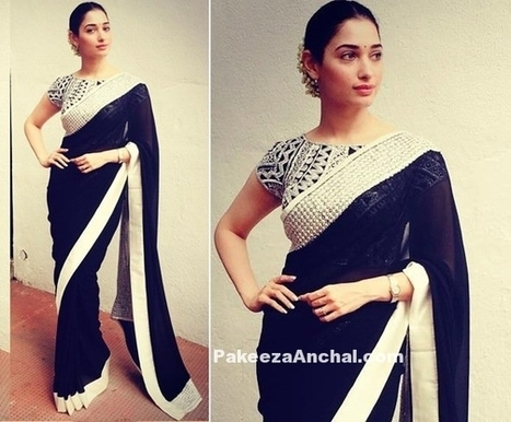 Tamanna Bhatia in Abu Jani Sandeep Khosla Black Saree | Indian Fashion Updates | Scoop.it