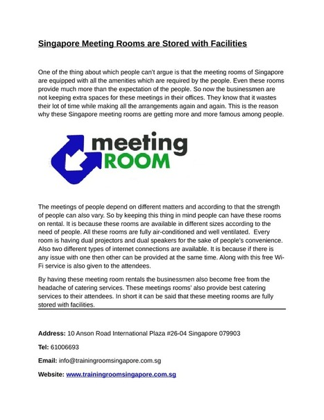 Singapore Meeting Rooms are Stored with Facilities   edocr   Singapore Training Room   Scoop.it