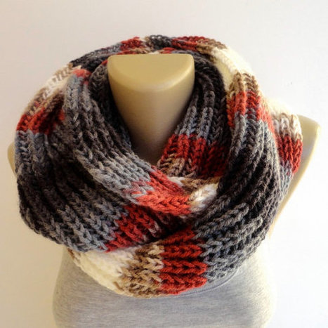 winter knitted scarf, infinity scarves, women scarf, men scarf, eternity winter scarf , gray red black white | Winter Fashions | Scoop.it